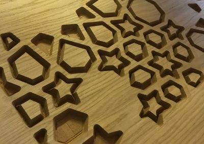 Moroccan Star Fretwork Oak Panel in progress