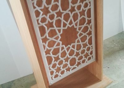 Moroccan Star Fretwork Panel on lectern view 2