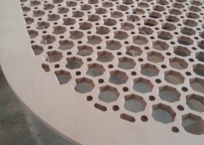 Octagons Lattice Fretwork curved table closeup