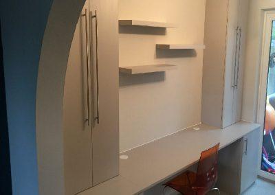 Cashmere grey desk and floating shelves